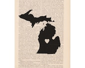state art print dictionary art - Heart in Michigan - custom state book print page
