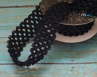 BLACK ELASTIC Waffle Crochet Ribbon - 2 Yards X 1.5 Inches - for Crafts, Headbands, Tutus, Couture Ribbon