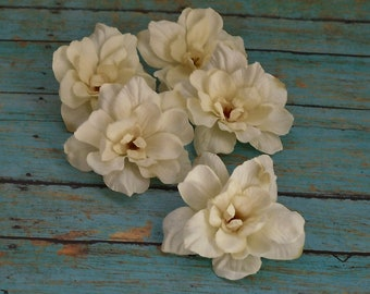 Silk Flowers - 5 Delphinium Blossoms in Cream with Taupe Accents - 3 Inch Size - Artificial Flowers