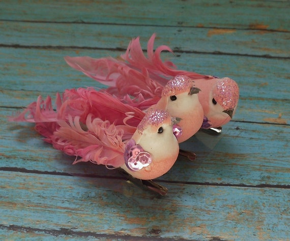 THREE Artificial Decorative PINK Birds on Clips - Craft Embellishment - Home Decor