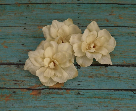 Silk Flowers - Three Cream Delphinium Blossoms - 3 Inches - Artificial Flowers