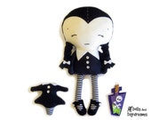 Wednesday Doll Sewing Pattern PDF Gothic Girl - Shoes Poison Bottle and Headless Rag Dolly Included