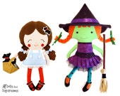 Wizard of Oz Sewing Pattern PDF Play Set e book - Dorothy Doll Toto Dog Softie & Wicked Witch of West  Stuff Toys - Set 1