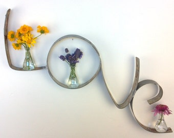 """RING ART - """"Love"""" - Wine Barrel Ring w/vases and candle holders- 100% recycled"""