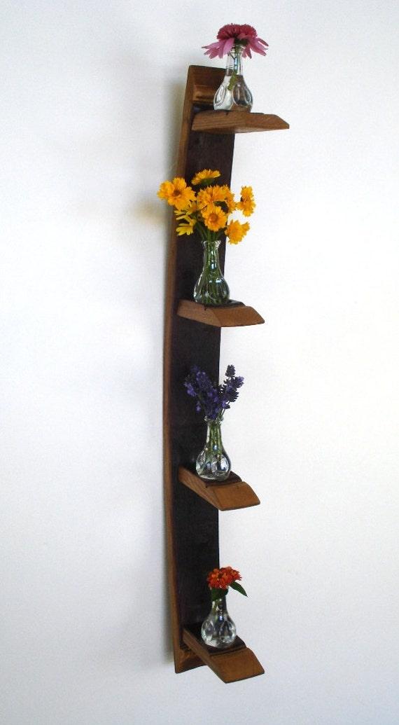 "CANDLE HOLDER - ""Quad Shelf"" - Wine Barrel Candle/Vase Holder - 100% Recycled"