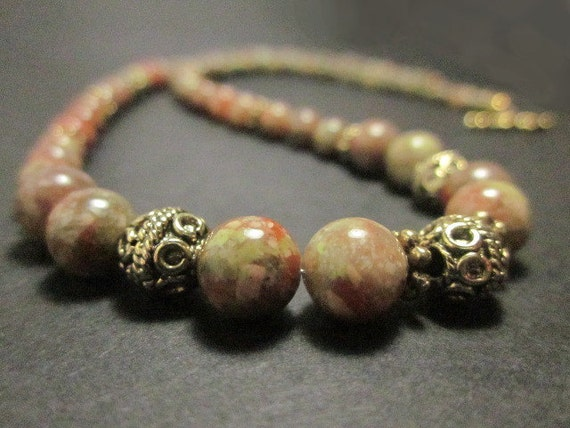 Autumn Jasper and Antiqued Gold Necklace - Pumpkin, Avocado, Warm Red