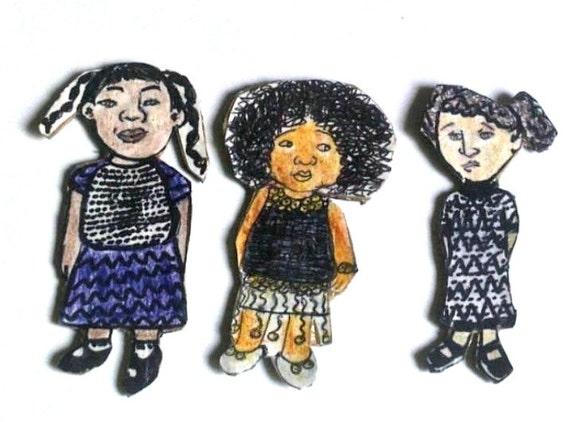Illustration Magnets - Little Girls - Childrens Decor