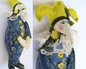 Whimsical Jester Folk Art Doll Harlequin Clown Pierrot April Fool - Vintage Cloth OOAK Artist Fantasy Stuffed Toy Colorful Bright Man Magic