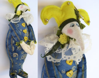 Whimsical Jester Folk Art Doll Harlequin Clown Pierrot April Fool - Vintage Cloth OOAK Artist Fantasy Stuffed Toy Colorful Bright Man Magic
