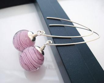 Light Pink Earrings, Pink and Black, Lampwork Earrings, Pink Drop Earrings, Light Pink, Black and Pink Earrings, Gift For Her, Pink Earrings