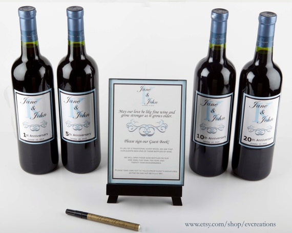 Wine Bottle Guest Book Kit with Custom Laminated Labels for Weddings plus Easel