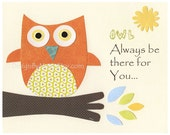 Owl Nursery Wall Art Print - Baby Boy Room Decor Cute Baby Shower Gift With Quote: OWL Always Be There For You - Blue Orange Yellow Brown
