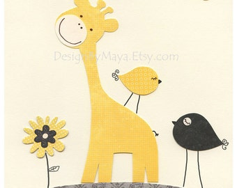 Nursery Art Decor, Kids Print, abc, baby giraffe nursery art, baby boy room, gray, yellow, mustard, birds, match to Happy Chic Baby art set