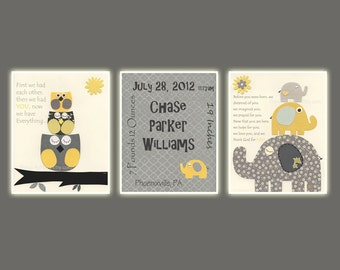 Nursery decor, wall art print, Baby boy room Elephant, baby owl, yellow and gray, birth stats, set of 8x10, Georgia bedding set