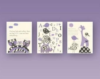 Baby Girl Nursery Decor, Girl Nursery Wall Art, Baby Girl Room Decor // Set of 3 8x10 Wall Art Prints // Purple Nursery Wall Art Decor