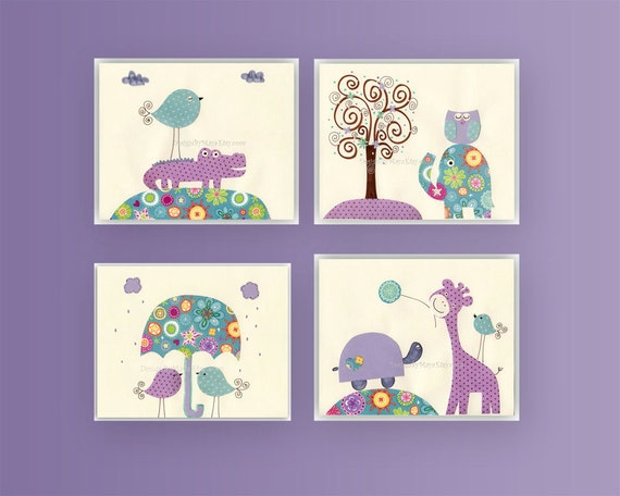 Nursery Art Decor, Kids Print, Giraffe, crocodile, set of 4 8x10 prints, lavender and baby blue, match to colors of Brooklyn Bedding set