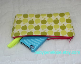 Clearance*** Pencil Case/Cosmetic Bag Back to School- Green Apples cosmetic bag - Apples pencil case - small coamtic bag- ready to ship