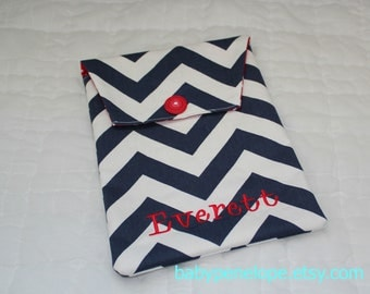 Personalized Diaper and Wipes Case Holder - Navy Chevron