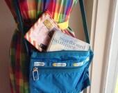 Vintage Blue Le Sportsac Bag - Cross Body Messenger Style - Nylon - Adjustable Strap
