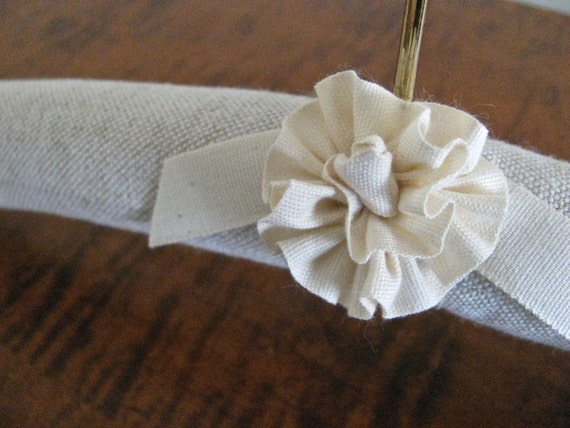 Padded Hanger for BABY, as featured in Kelli Murray Nursery, Natural Linen Homespun with Handmade Organic Ribbon Rosette