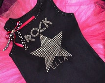 Personalized Custom Rock Star rockstar Birthday Shirt: Girls Kids toddlers crystal rhinestone tutu shirt