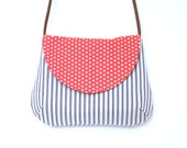 summer shoulder bag with leather strap / cross-body bag in blue and white ticking with polka dots