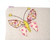 butterfly applique zipper pouch in polka dots and sweet floral with freestyle stitching / summer fashion / compact / cosmetic bag