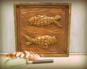 Hand carved solid wood Pisces Zodiac vintage wall plaque