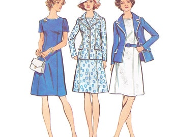 1970s Dress Vintage Pattern - UNCUT and FF Simplicity 6214 - Misses Dress and Jacket Sewing Pattern/ Size 10