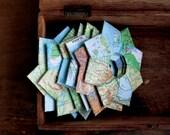 "Vintage paper folded stars (Atlas). Gift decoration. 4"" x 4"".  Pack of 8."