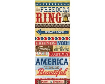 Americana Word embossed stickers by K&Company 16 pcs