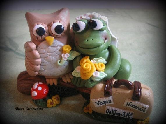 Wedding Cake Topper, Owl and Frog, Custom, Personalized Polymer Clay Wedding/Anniversary Keepsake
