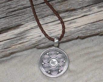 Pewter Pendant on Braided Leather Cord - 4