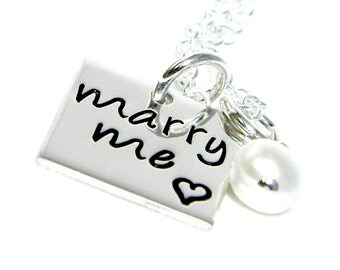 Personalized Wedding Necklace - Wedding Marry Me Necklace - Hand Stamped Jewelry