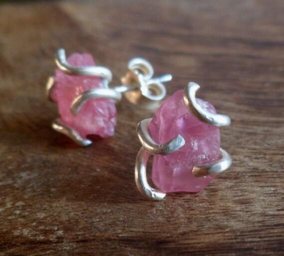 Pink tourmaline and sterling silver stud earrings. Handmade. Mineral . Post earrings.