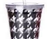 Double Wall Tumbler with Drinking Straw - Black Houndstooth