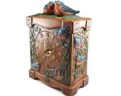 Bluebirds of happiness - vintage ceramic mantle clock