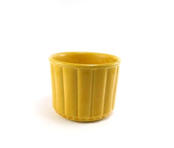 Bright yellow planter - vintage McCoy style ceramic crock honey gold