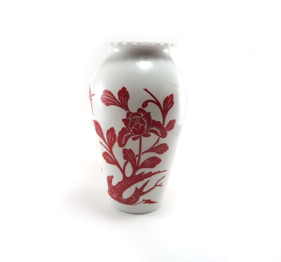 Tall white vase with red cherry blossomsand birds, Valentine's Day