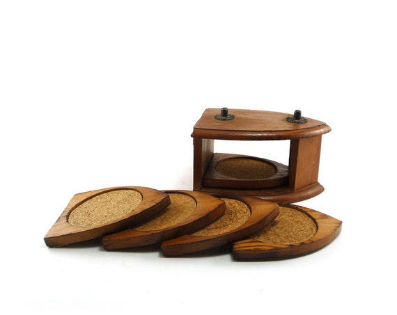Vintage wood coasters - 70s retro decor