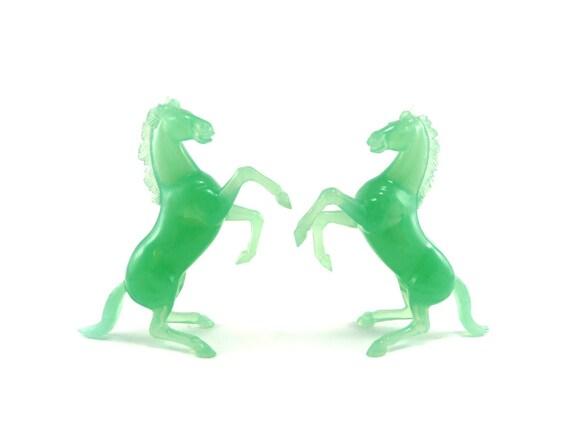 Vintage resin horses - jade mint green stallions
