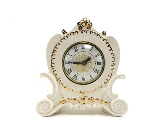 White mantle clock gold detail - vintage ceramic electric  handpainted clock ivory cream off white
