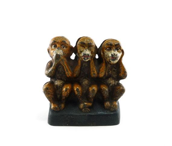 Antique cast iron three monkeys bank