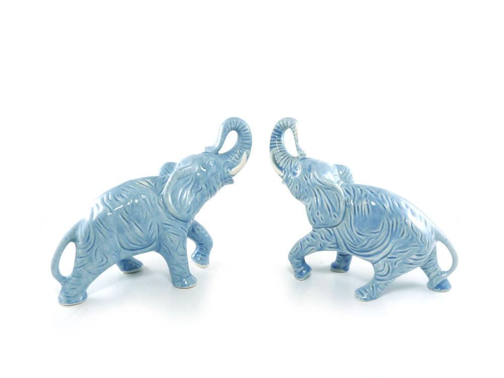 Blue Ceramic Elephant Figurines Pair Of Baby Dusk Blue