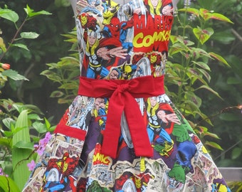 Marvel Comic Action Heros Apron - Full of Twirl Flounce