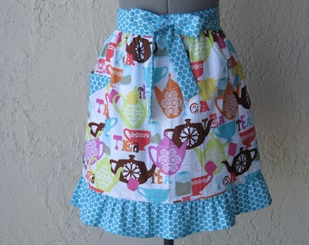 Tea Time Half Full of Flounce Apron- with a hint of Polka Dots- Ready to ship- Only One