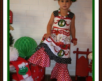 Grinch Christmas Knot  Dress ... Toddler up to Girl size 6