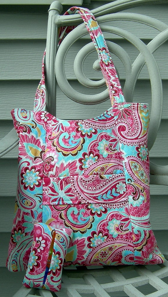 Pink and Turquoise Tote with Matching Pocket Tissue Holder