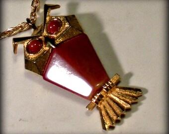 Vintage Golden Amber Owl Pendant Necklace