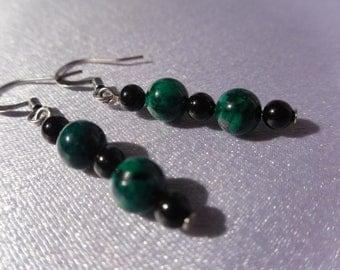 Green Malachite and Black Beaded Earrings